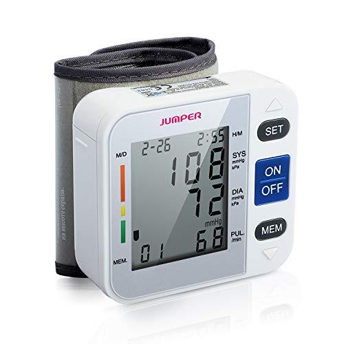 Jumper Handgelenk-Blutdruckmessgerät, Digital Blutdruckmessgerät Monitor für Herzfrequenz und Pulse Detection - Einschließlich Aufbewahrungskoffer und AAA-Batterien (Weiß)