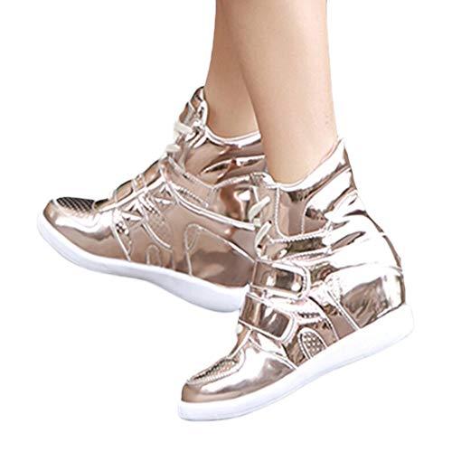 MYMYG Damen Stiefel Lackleder Keile Schuhe Plateauschuhe High-Top Lace Up Sneakers Stylische Schnalle Walkingschuhe Freizeitschuhe Lederschuhe Wildleder Winter Herbst warme Stiefel