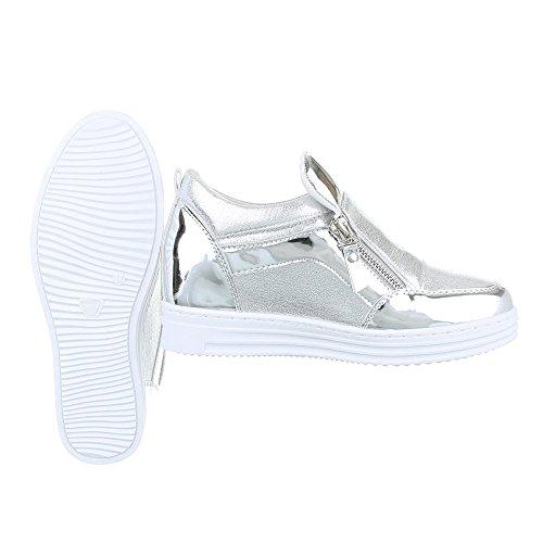 High-Top Sneaker Damenschuhe High-Top Moderne Reißverschluss Ital-Design Freizeitschuhe Silber