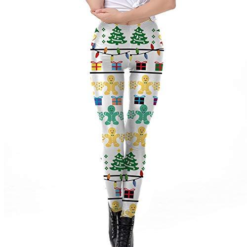 Girl Kostüm Harem - Goldatila Damenhose Damen Weihnachten Druckhose Kostüm Leggings Workout Laufhose Yogahose Lady Skinny Xmas Elf Print Stretchy Jegginghose Schlank Geometrische Leggings Größe S-XL