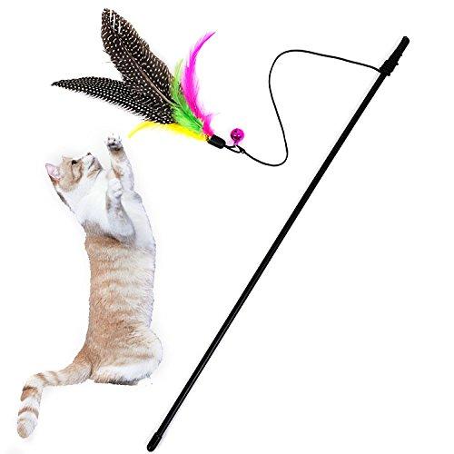 TUDUZ Interaktive Katzenangel - Megapack Edition - Spielzeug mit Federn und Bell Tolles Preis/Leistungs Verhältnis Katzenspielzeug(56x3cm,Mehrfarbig)