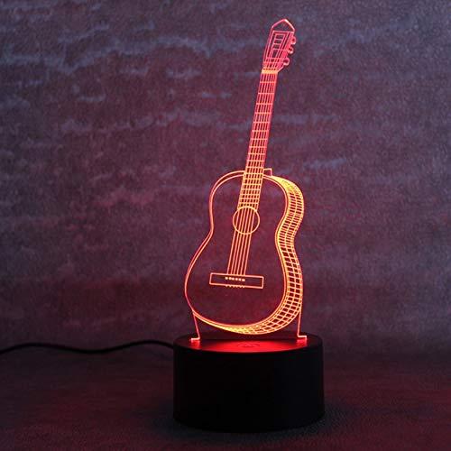 Kreative 3D Visuelle Tischlampe Led 7 Farbwechsel Neuheit Schlafzimmer Nacht Nachtlicht Musik Sechs Saiten Gitarre Lampe Wohnkultur