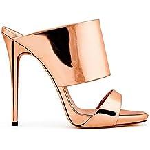 SHINIK Womens's Shoes Ladies Sandali con tacco alto Shine High-heeled Luxury Silver Champagne (Color : Champagne, Dimensione : 40)