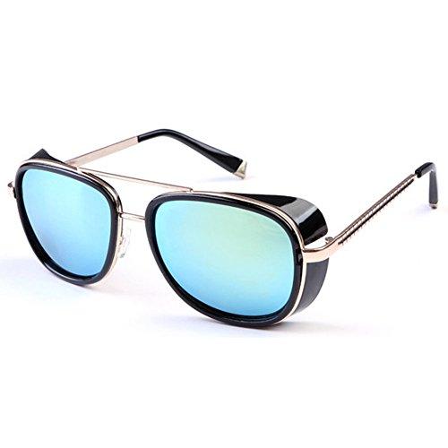 Yying Unisex Steampunk Sonnenbrille Damen Herren Brillen UV400 Schutzbrille Vintage Brillen Metallrahmen