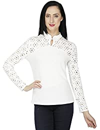 SVT ADA COLLECTIONS Poly Viscose White Color Elegant TOP with Cutwork ON Sleeves n Shoulder (08606_White_Medium)