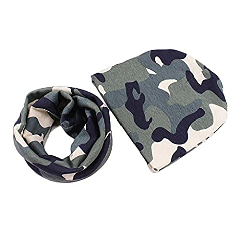 Kingko® Baby Cute Hats Scarfs Infant Baby Winter Cotton Hat and Scarf Set (Camouflage A)