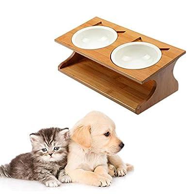 Hearthrousy Hundenapf Fressnapf Katzenapf Katze Schüssel Edelstahl Doppel Napf Haustier Katze Esstisch Bambus Keramik Haustierschalen