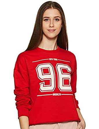 Amazon Brand - Symbol Women's Cotton Sweatshirt (AW18WNSSW20_Fire Red_Small)