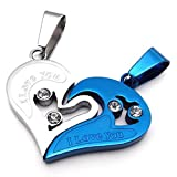 Konov Jewellery 2pcs Lovers Men's Women's Heart Stainless Steel Pendant Love Necklace Set, Couples Valentine's Gift for Him Her, Colour Blue Silver, 2pcs Chain 18 inch 22 inch