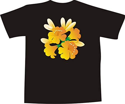 T-Shirt F1029 Schönes T-Shirt mit farbigem Brustaufdruck - kleine Trompete Blumen Weiß