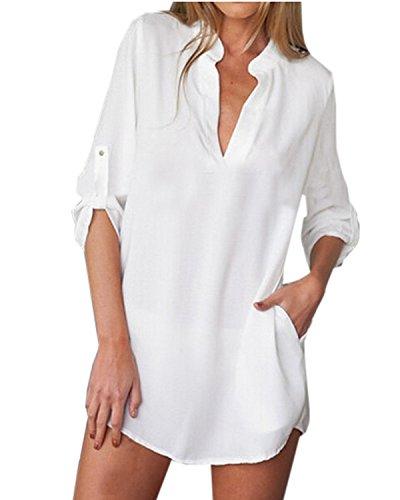 Weiße Langarm-top (ZANZEA Damen V-Ausschnitt Chiffon Langarm Slim Oversize T-Shirt Bluse Lose Tops Weiß EU 48/US 16)