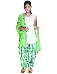Womens Cottage Women's Shibori Printed Cotton Semi Patiala Salwar & Matching Chiffon Dupatta With Lace