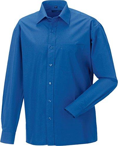 Russell Collection Herren Langärmeliges Hemd 100% Baumwolle pflegeleicht Rosa