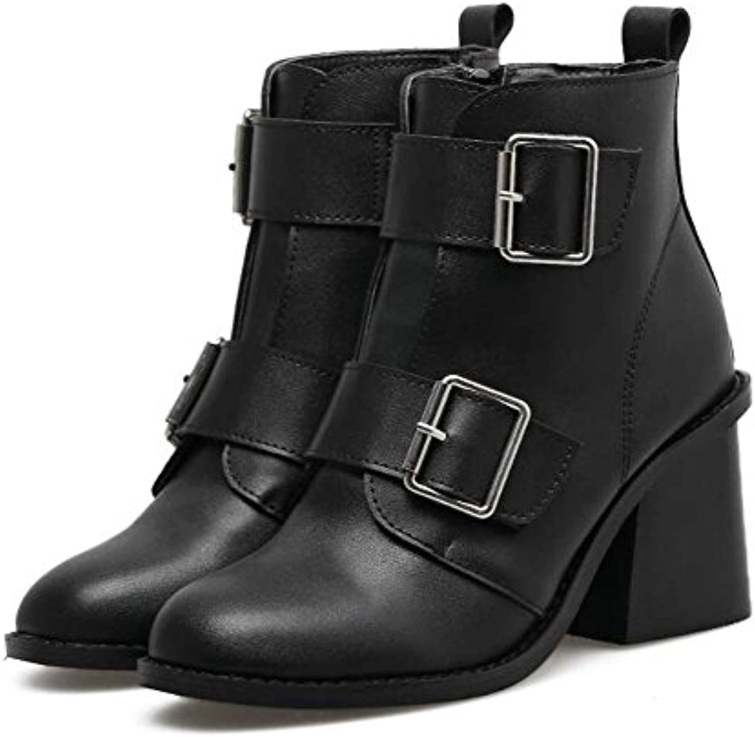 995121159dc 7.5CM Chunkly Heel Ankle Boot Court Shoes Women s Handsome Round Round  Round Toe Zipper Belt Buckle Knight Boots 2017 Autumn... B075JH7N9S Parent  452492