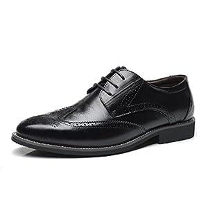 Zapatos Oxford Hombre, Brogue Cuero Vestir Cordones Derby Calzado Boda Negocios Negro Marron Azul Rojo Amarillo 38-48EU