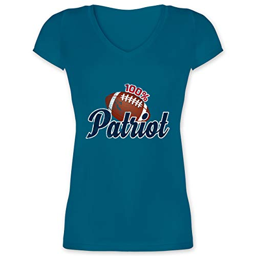 American Football - 100{f66f886649e2de530325fe7abfb0f69631f2944714c4e6c59e54c56762dc6057} Patriot - XXL - Türkis - XO1525 - Damen T-Shirt mit V-Ausschnitt