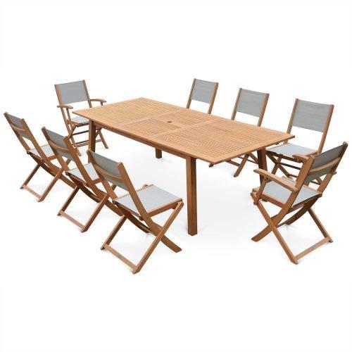 Salon de Jardin en Bois Extensible - Almeria - Grande Table 180/240cm avec rallonge, 2 fauteuils et 6 chaises, en Bois d'Eucalyptus FSC huilé et textilène Gris Taupe