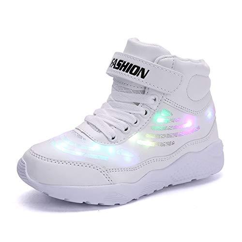 Axcone LED Leuchtet Schuhe Sneakers mit USB der Kinder Lässige Mode Sneakers Jungen Mädchen Geschenk für Halloween Weihnachten Danksagung- 289 Weiß 33EU