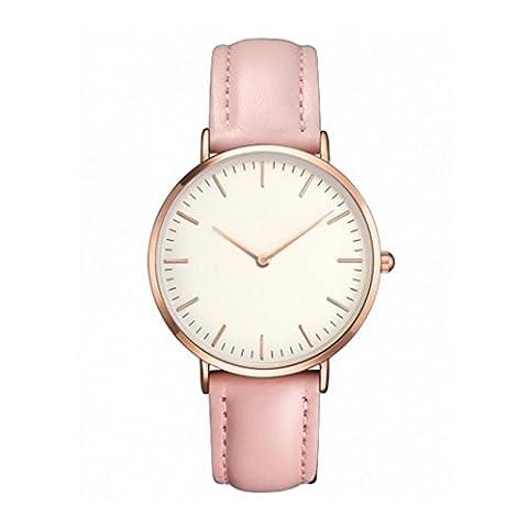 Montre Ihee pour femme et homme, design tendance, décontracté, simple en acier inoxydable, montre analogique à quartz, bracelet de montre M rose