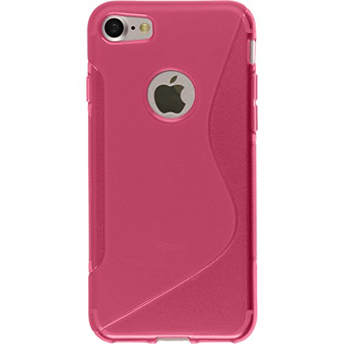 PhoneNatic Case für Apple iPhone 8 Hülle Silikon schwarz S-Style Cover iPhone 8 Tasche + 2 Schutzfolien Pink