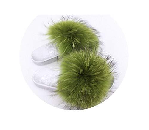 Fur Slides Slippers Flip Flops Open Toe Flat Sandals Fluffy Sliders Shoes Summer Beach Women,Green,8 -