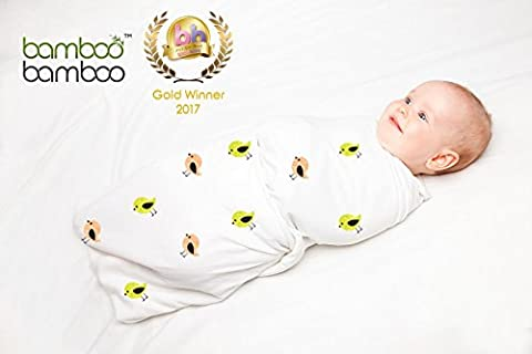 Baby Swaddle Blankets Made of 100% Organic Bamboo and Cotton in Unisex Designs (3 Pack)
