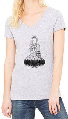 Praying Budhhism Graphic Women's V-Neck T-shirt Gris