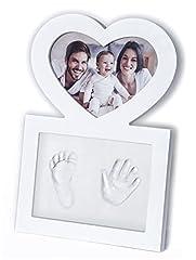 Idea Regalo - Click & Clay - Cornice Impronte Manine e Piedini Neonato, Idea Regalo Battesimo, Design a Forma di Cuore, Bianca