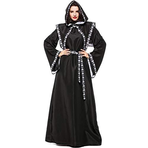 Zauberer Kostüm Weibliche - ASDF Cosplaytanz-Horrorschädelzombiezauberer des Halloween-Kostüms weiblicher Erwachsener