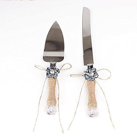Lugii Cube Bowknot Floral de mariage cadeau de douche avec poignée de ficelle rustique gâteau de mariage couteau et ensemble de serveurs