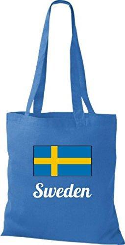 ShirtInStyle Sac en tissu Sac en coton Jute de pays Suède Suède - Ciel, 38 cm x 42 cm Royal