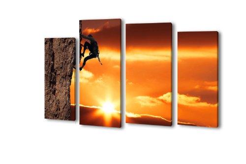 Leinwandbild Bergsteiger LW6 Wandbild, Bild auf Leinwand, 4 Teile, 180x100cm, Kunstdruck Canvas, XXL Bilder, Keilrahmenbild, fertig aufgespannt, Bild, Holzrahmen, Fels, Klettern, Bouldern