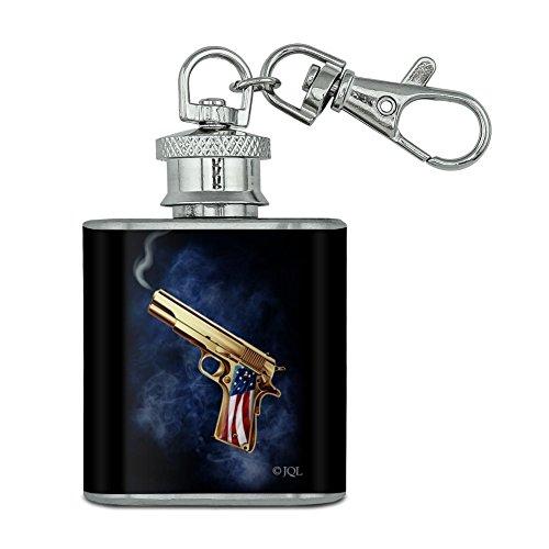 USA AMERICAN FLAG 2nd änderungsantrag Golden Gun Unzen Edelstahl Mini Fläschchen Schlüssel Kette (2 Unzen Alkohol Flüssigkeit)
