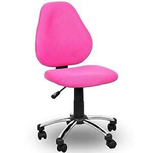Chaise de Bureau pivotante moderne pour enfant - Couleur rose - Hauteur Reglable