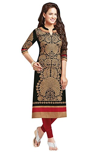 Ishin Pure Cambric Cotton Black Printed Party Wear Wedding Wear Casual Daily Wear Office Wear Festive Wear Bollywood New Collection Latest Design Trendy Women\'s Unstitched Kurti/Kurta Fabric (Only Ku