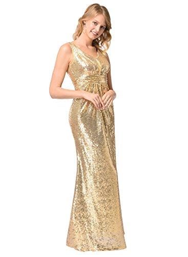 Frauen V-Ausschnitt Warp Kleid Night Out Kleid Partei lange Pailletten Kleid Gold M - 2