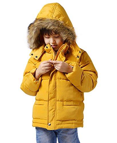 Happy Cherry Kinder Jungen Jacket Wattierte Gesteppte Winterjacke mit abnehmbarer Kapuze - Gelb