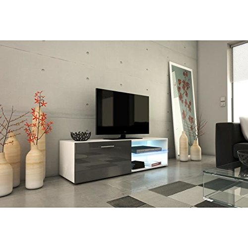 Kora meuble tv 120cm avec éclairage led - gris brillant
