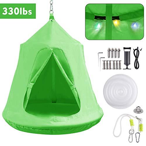 FEMOR Hängezelt, Hängenest mit LED--Leuchten, Tragkraft bis 100KG, grün (Wahl des Festgeschenk)