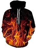 Loveternal Fiamma Hoodie 3D Stampao Felpe con Cappuccio Uomo Unisex Flame Felpa Ragazzo Modello con Coulisse Tasca Pullover L