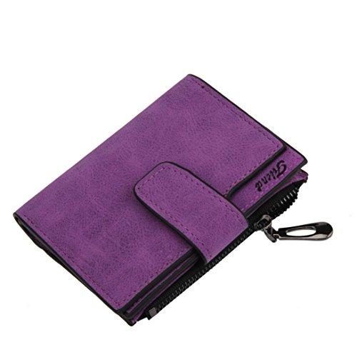 Internet Portefeuille femmes Grind Mini pliantes magique en cuir sac à main carte titulaire 12.8 * 10.5cm (Violet)