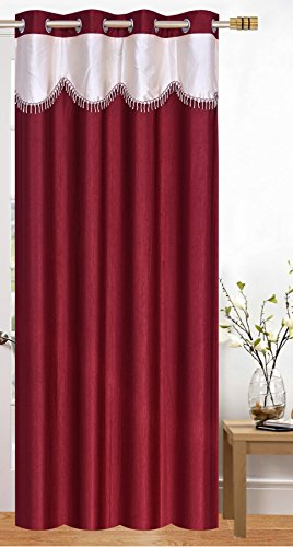 check MRP of maroon and cream curtains Honey Traders