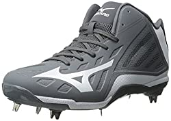 Mizuno Mens Heist IQ Mid Baseball Cleat Grey / White 11.5 D(M) US