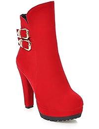 AgooLar Damen Mattglasbirne Knöchel Hohe Rein Reißverschluss Hoher Absatz Stiefel, Rot, 36