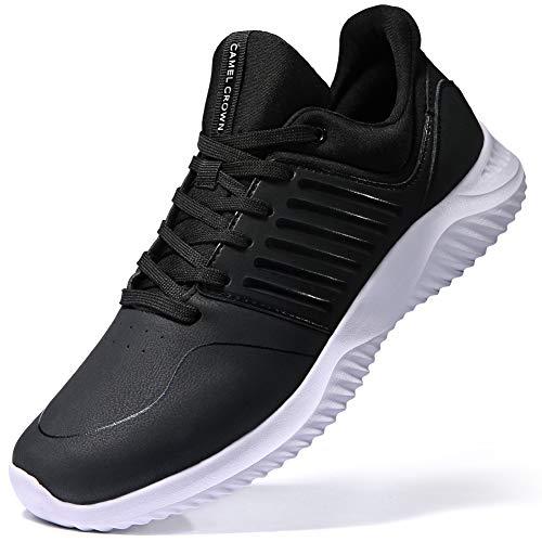 CAMEL CROWN Herren Laufschuhe Fitnessschuhe Straßenlaufschuhe Sneaker Gym Turnschuhe mit Laufen Fitnessstudio Ultraleicht Sportschuhe Schwarz