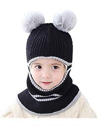 De feuilles Ensemble Bonnet   Tour de Cou Bébé Enfants En Tricoté Chapeau  Motif Imprimé Hiver 50cb23bab62
