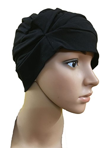 BLACK CHEMO BEANIES CANCER CAPS WOMEN SUMMER CHEMO CAPS SLEEP TURBAN FOR...