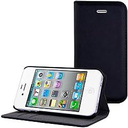 kwmobile 1 x élégant étui en Cuir synthétique Compatible avec Apple iPhone 4 / 4S avec Fermeture magnétique en Noir