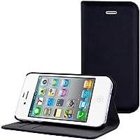 kwmobile Elegante funda de cuero sintético para el Apple iPhone 4/4S con cierre magnético y función de soporte en Negro
