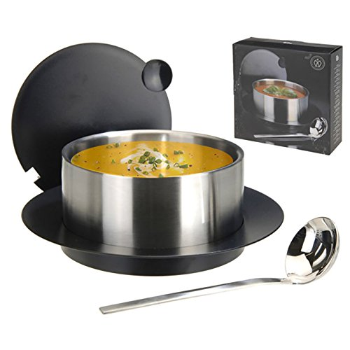 Grand Recipient Soupière Plat à Soupe Double Paroi + Couvercle + Dessous + Louche à Soupe - 2,4 Litres